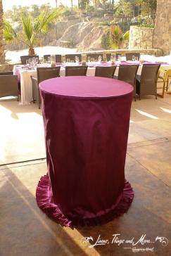 Eggplant custom cocktail table wedding Cabo