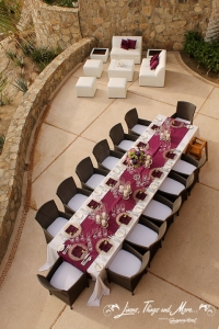 Eggplant and off white high end wedding decor Cabo