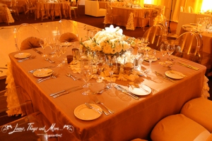 champagne square table linen wedding design Los Cabos