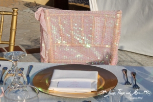 Wedding gold charger and chair jacket Los Cabos design and decor