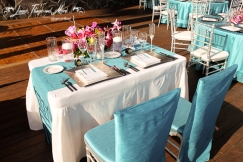 Bride and groom table Cabo Azul Resort Turquoise and off white