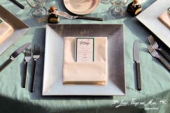 New square chargers for a modern look wedding decor