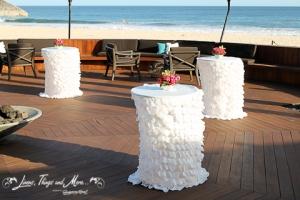 Detail fabric off white petals wedding decor Cabo Azul Resort