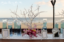 White petal entrance table runner design Cabo Azul Resort wedding