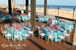 Cabo Azul resort turquoise wedding decor