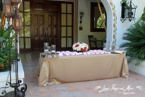 Champagne wedding entrance table One & Only Palmilla Cabo