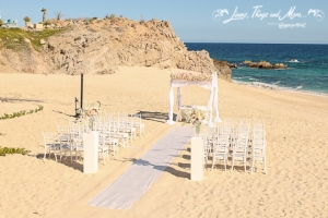 White on white ceremony set-up by the beach Cabo