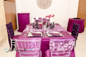 Deep purple wedding decor Villa Marcella Cabo