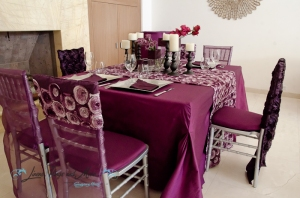 Deep purple dinner decor Cabo