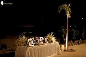Elegant off white entrance table for wedding at Cabo Azul