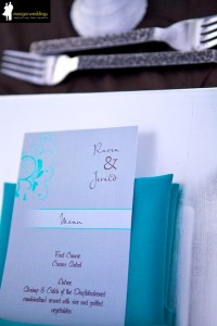Square silver charger and turquoise napkin wedding Los Cabos