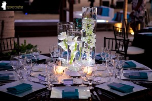Brown and Turquoise wedding decor at Cabo Azul resort