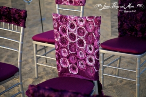 Deep purple ceremony decor