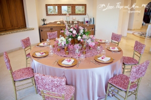 Custom high end pink linen decor Pedregal Los Cabos