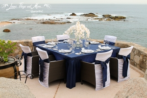 Navy blue and white wedding linens at Esperanza Resort Los Cabos