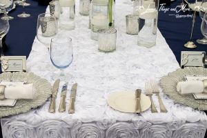 Custom wedding runner white on navy linens Cabo