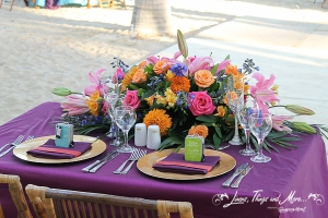 Purple and gold Bride & Groom Table