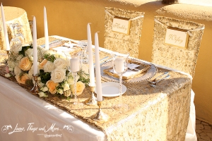 High end bride and groom table decor
