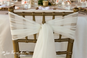 Cabo gold Tiffany chair and off white chiffon tie