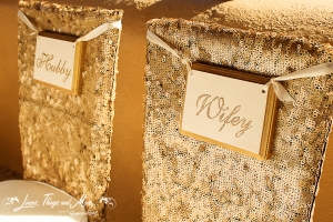Sequins gold wedding chair cover Cabo