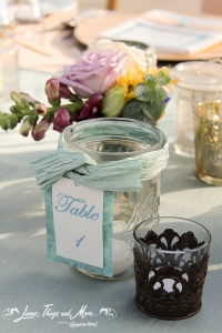 Aqua wedding table number with Mason Jars