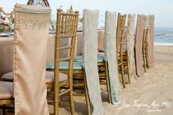 Aqua, Champagne and Lace wedding chair jacket at Barcelo Cabo