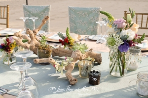 Lace and Aqua wedding linens Cabo