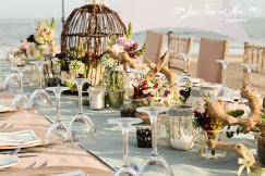 Aqua, Champagne and Lace wedding decor at Barcelo Los Cabos