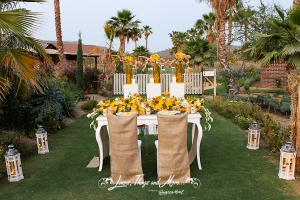 Flora Farm restaurant Burlap and rustic decor for special event Cabo