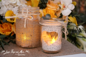 Event Cabo burlap Mason Jars and candles