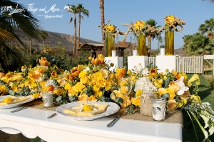 Yellow and burlap rustic wedding decor Floral Farm Los Cabos