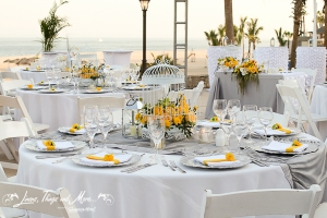 Grey and yellow wedding decor Hilton Los Cabos