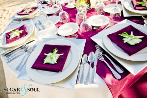 High end eggplant and lime green wedding decor Barcelo Los Cabos