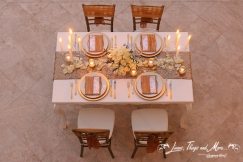 High end dinner decor gold and white Los Cabos