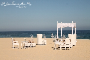 White vintage ceremony decor Sheraton Cabo