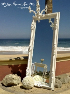 Wedding MIrror and chandelier for wedding decor at the Sheraton Cabo