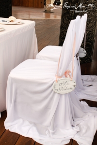 Dove Gray an Blush pink custom wedding chair covers decor Cabo Azul