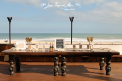 Burlap wedding entrance table Cabo Azul by Linens, Things and More...