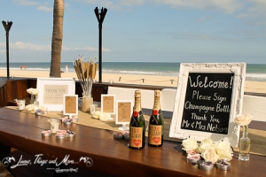 Rustic wedding entrance table Los Cabos!