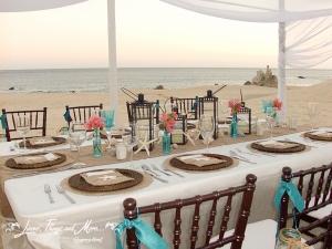 Pedregal beach birthday party decor in Cabo San Lucas