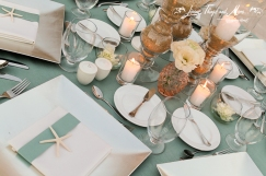 Aqua and coral centerpieces Grand Solmar Cabo