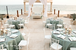 Aqua Blue wedding decor Los Cabos