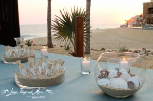 Aqua and seashells wedding entarnce table design Cabo
