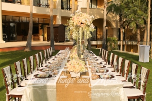 Imperial table decor beach destination wedding Cabo