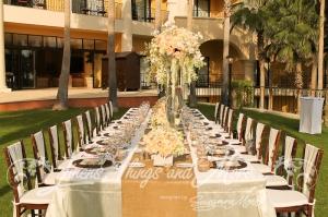 Imperial table decor beach destination wedding Cabo