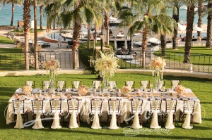 High end wedding decor Hilton Los Cabos Blue Marlin terrace