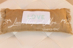 Customized burlap decorative pillows Cabo decor