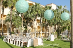 Mint green Chinese lantern rental Cabo event and wedding