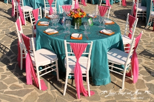 Turquoise, Fuchsia and orange wedding decor- Melia Cabo Real