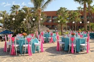 Turquoise, Fuchsia and orange wedding design - Melia Cabo Real